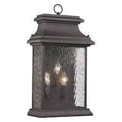 ELK Lighting Forged Provincial Collection 3 Light Outdoor Sconce In Charcoal