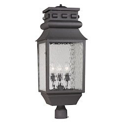 ELK Lighting Forged Lancaster Collection 3 Light Outdoor Post Light In Charcoal