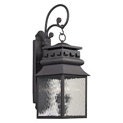 ELK Lighting Forged Lancaster Collection 2 Light Outdoor Sconce In Charcoal