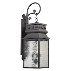 ELK Lighting Forged Lancaster Collection 3 Light Outdoor Sconce In Charcoal