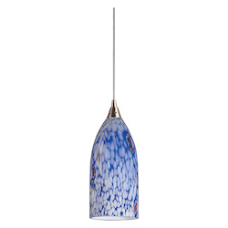 ELK Lighting One Light Satin Nickel Starlight Blue Glass Down Pendant