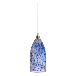 ELK Lighting One Light Satin Nickel Starlight Blue Glass Down Mini Pendant