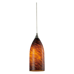 ELK Lighting One Light Satin Nickel Espresso Glass Down Pendant
