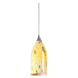 ELK Lighting One Light Satin Nickel Yellow Blaze Glass Down Mini Pendant