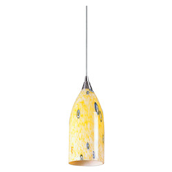 ELK Lighting One Light Satin Nickel Yellow Blaze Glass Down Pendant