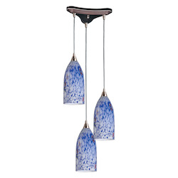 ELK Lighting Three Light Satin Nickel Starlight Blue Glass Multi Light Pendant