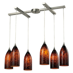 ELK Lighting Six Light Satin Nickel Espresso Glass Multi Light Pendant