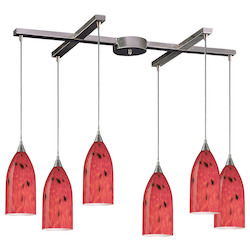 ELK Lighting Six Light Satin Nickel Fire Red Glass Multi Light Pendant