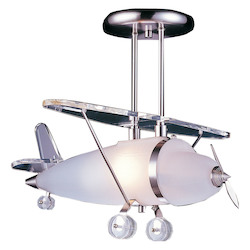ELK Lighting 1-Light Biplane Shape Pendant In Satin Nickel