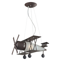 ELK Lighting 1-Light Biplane Fighter Pendant In Satin Nickel