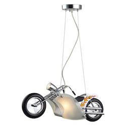 ELK Lighting 1-Light Motorcycle Pendant In Satin Nickel