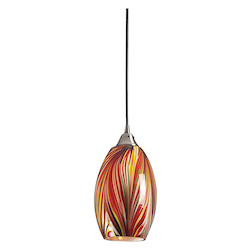 ELK Lighting One Light Satin Nickel Multi Colors Swirled Glass Down Pendant