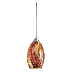ELK Lighting One Light Satin Nickel Multi Colors Swirled Glass Down Mini Pendant