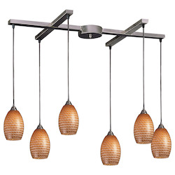 ELK Lighting Six Light Satin Nickel Coco Glass Multi Light Pendant