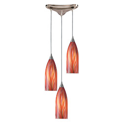 ELK Lighting Three Light Satin Nickel Multi Glass Multi Light Pendant