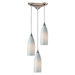 ELK Lighting Three Light Satin Nickel White Swirl Glass Multi Light Pendant