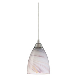 ELK Lighting One Light Satin Nickel Creme Glass Down Pendant