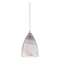ELK Lighting One Light Satin Nickel Creme Glass Down Mini Pendant