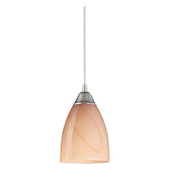 ELK Lighting One Light Satin Nickel Sandy Glass Down Mini Pendant
