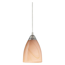 ELK Lighting One Light Satin Nickel Sandy Glass Down Pendant