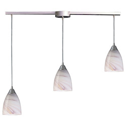 ELK Lighting Three Light Satin Nickel Creme Glass Multi Light Pendant