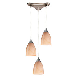 ELK Lighting Three Light Satin Nickel Sandy Glass Multi Light Pendant