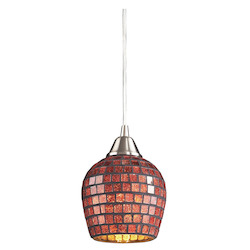 ELK Lighting One Light Satin Nickel Copper Mosaic Glass Down Mini Pendant