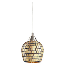 ELK Lighting One Light Satin Nickel Gold Mosaic Glass Down Pendant