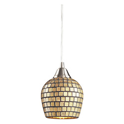 ELK Lighting One Light Satin Nickel Gold Mosaic Glass Down Mini Pendant