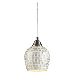 ELK Lighting One Light Satin Nickel Silver Mosaic Glass Down Pendant
