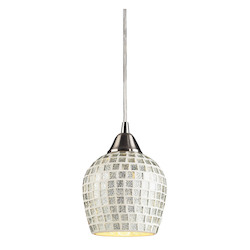 ELK Lighting One Light Satin Nickel Silver Mosaic Glass Down Mini Pendant