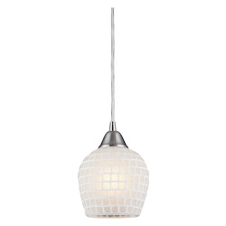 ELK Lighting One Light Satin Nickel White Mosaic Glass Down Pendant
