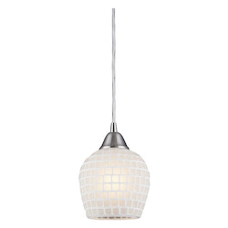 ELK Lighting One Light Satin Nickel White Mosaic Glass Down Mini Pendant