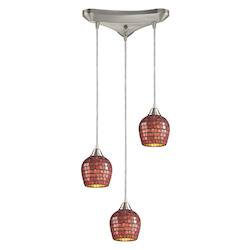 ELK Lighting Three Light Satin Nickel Copper Mosaic Glass Multi Light Pendant