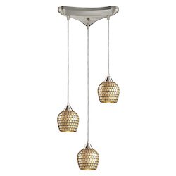 ELK Lighting Three Light Satin Nickel Gold Mosaic Glass Multi Light Pendant