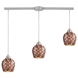 ELK Lighting Three Light Satin Nickel Multi Mosaic Glass Multi Light Pendant