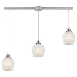 ELK Lighting Three Light Satin Nickel White Mosaic Glass Multi Light Pendant