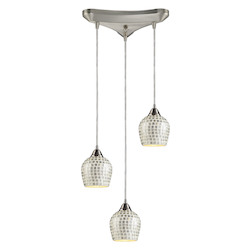 ELK Lighting Three Light Satin Nickel Silver Mosaic Glass Multi Light Pendant