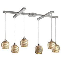 ELK Lighting Six Light Satin Nickel Gold Mosaic Glass Multi Light Pendant