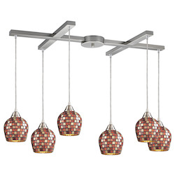 ELK Lighting Six Light Satin Nickel Multi Mosaic Glass Multi Light Pendant