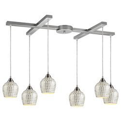 ELK Lighting Six Light Satin Nickel Silver Mosaic Glass Multi Light Pendant