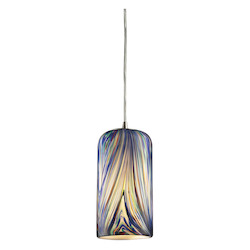 ELK Lighting One Light Satin Nickel Molten Ocean Glass Down Mini Pendant