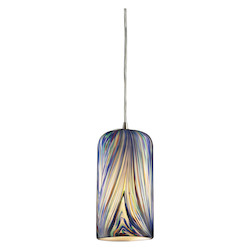 ELK Lighting One Light Satin Nickel Molten Ocean Glass Down Pendant