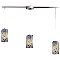 ELK Lighting Three Light Satin Nickel Molten Ocean Glass Multi Light Pendant