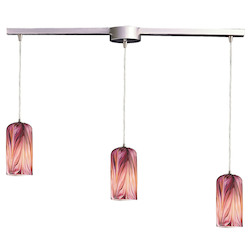 ELK Lighting Three Light Satin Nickel Molten Rose Glass Multi Light Pendant