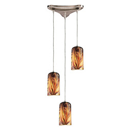 ELK Lighting Three Light Satin Nickel Molten Sunset Glass Multi Light Pendant