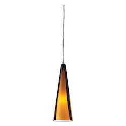 ELK Lighting One Light Satin Nickel Sahara Glass Down Pendant