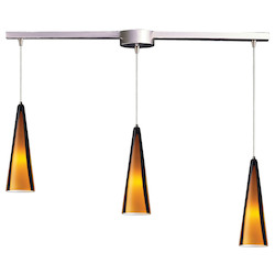 ELK Lighting Three Light Satin Nickel Sahara Glass Multi Light Pendant