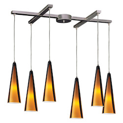 ELK Lighting Six Light Satin Nickel Sahara Glass Multi Light Pendant