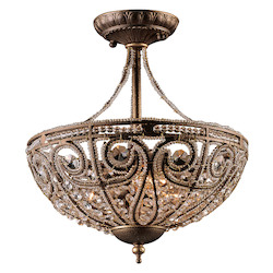 ELK Lighting Three Light Dark Bronze Bowl Semi-Flush Mount
